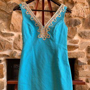 LILLY PULITZER BLUE GOLD TRIM V-NECK BENTLEY DRESS